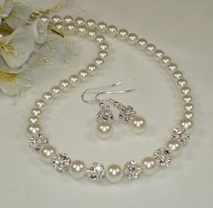 Bridesmaid Jewelry, Maid of Honor, Pearl Rhinestone Necklace Earring Set,  Mother of The Bride, Special Occasion,   Swarovski on Etsy, $38.00