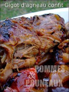 - GIGOT D AGNEAU CONFIT EN TAJINE, POMMES ET PRUNEAUX et des nouvelles du MM21 - Good Food, Yummy Food, Warm Food, Cold Meals, Meat Recipes, Healthy Dinner Recipes, Food Videos, Food And Drink, Pork
