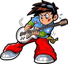 Anime manga guitar player vector 1444100 - by kennykiernan on VectorStock® Cartoon Eyes, Girl Cartoon, Free Clipart Images, Royalty Free Clipart, Guitar Clipart, Drums Wallpaper, Male Cartoon Characters, Drum Lessons For Kids, Songs