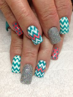 Turquoise and coral spring nails