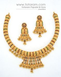 Check out the deal on 22 Karat Gold Necklace & Drop Earrings set at Totaram Jewelers: Buy Indian Gold jewelry & 18K Diamond jewelry