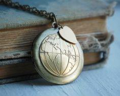 World LOCKET Atlas Map Western & Eastern Hemisphere Travel Globe Bon Voyage LOVE Makes the World Go 'Round