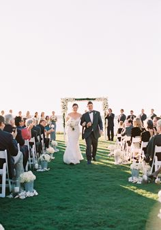 The Happily Married Couple Walk Down this Outdoor Aisle, S.C. #wedding #ceremony