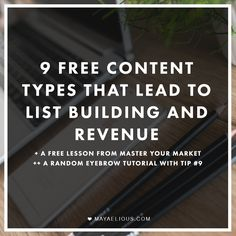 "List building, revenues, and eyebrows, oh my! Awesome stuff, Maya Elious: ""9 Free Content Types hat Lead to List Building and Revenue"" --"