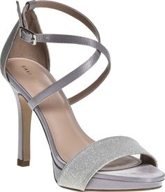 Toni - High heeled platform sandal shoes with glitter design and ankle straps Navy Sandals, Silver Sandals, Mother Of The Groom Shoes, Special Occasion Shoes, Peep Toe Platform, Ankle Straps, Shoe Collection, New Shoes, Taupe