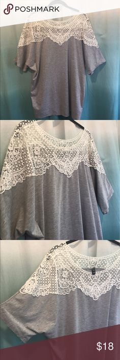 EUC Gray T- shirt with thick white lace XXXL Part of the 10.00 sale for a limited time! This is in Excellent Condition!  Looks like it has never been worn!!  Bottom is Gray T- Shirt  material and top is made of a sturdy white lace !!!  Very flattering!!! Tops Tees - Short Sleeve