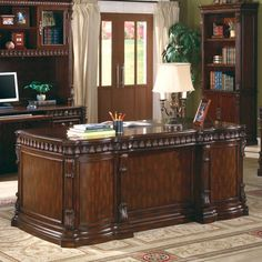 Wildon Home Corning Executive Desk with Drawers Executive Office Desk, Home Office Desks, Home Office Furniture, Furniture Design, Furniture Ideas, Furniture Stores, Luxury Furniture, Office Table, Cheap Furniture