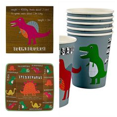Dinosaur themed party pack for 12 guests. Quality dinosaur themed tableware pack with coordinating party bags, bunting and decorations. Just one click away Party Kit, Party Packs, Party Ideas, Paper Napkins, Paper Plates, Party Themes For Boys, Dinosaur Birthday Party, Party Tableware, Bunting