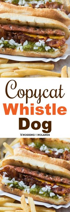 This Copycat Whistle Dog will be your new fave! Copycat Whistle Dog by Noshing With The Nolands with just a few select toppings has excellent flavor. Your family will love these for lunch or dinner! Hot Dog Recipes, Bacon Recipes, Cooking Recipes, Coffe Recipes, Paninis, Hamburgers, Restaurant Recipes, Dinner Recipes, Hot Dogs