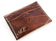 Leaf stamped leather wallet.  Incredible!