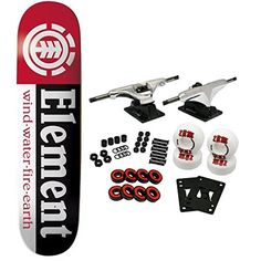 "ELEMENT Skateboards SECTION Complete SKATEBOARD Black - http://shop.dailyskatetube.com/?post_type=product&p=2013 -  ELEMENT Complete Skateboard Options Part - ""Segment"" Deck, Dimension 7.seventy five"" x 31.five"" . Complete parts come with Core Vehicles, 52mm TGM Goth Brand Wheels, Amphetamine Abec 5 Bearings, Black Diamond Griptape, 1"" Hardware and 1/8"" risers.   -"