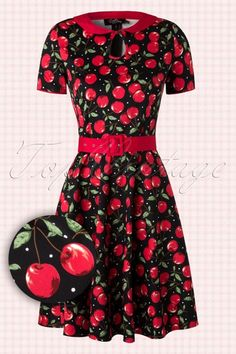 Dolly and Dotty Evelyn Black Red Cherry Dress