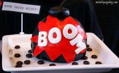 Love this exploding cake! Perfect for a spy, villian or superhero party! karaspartyideas.com