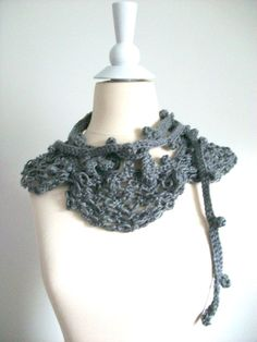 Gray fashion crochet neclace or neckwarmer by PIPPADUSHES on Etsy, $21.00
