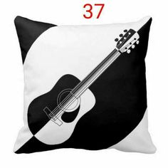 Modern designer black and white guitar pillows Diy Pillows, Sofa Pillows, Custom Pillows, Decorative Pillows, Throw Pillows, Funny Pillows, Cushion Covers, Pillow Covers, Clothing Store Displays