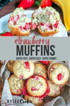 These delicious strawberry banana muffins are packed full of fresh flavors, and last about 5 minutes after coming out of the oven! They'll be devoured FAST! #muffins #strawberry #banana #breakfast #kyleecooks Strawberry Banana Muffins, Strawberry Muffin Recipes, Healthy Muffin Recipes, Lemon Muffins, Vegan Recipes, Recipes With Yeast, Sweet Recipes, Homemade Cake Recipes, Frugal Recipes