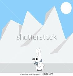 White Rabbit Waling In Snow