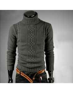 Men's Deep Gray Turtleneck Worsted Sweater  - 806401M05