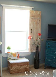 Window molding and rustic indoor shutters. Gorgeous {Rustic Shutters} repurposed for {Indoors! Rustic Shutters, Interior Window Shutters, Wood Shutters, Bedroom Shutters, Indoor Shutters For Windows, Shutters Inside, Kitchen Shutters, Interior Windows, Bedroom Windows