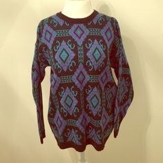 Vintage 80's Sweater Warm 80's sweater by Leslie Fay. Great condition. Black, turquoise, green, purple. Size Large. 100% Acrylic. Leslie Fay Sweaters