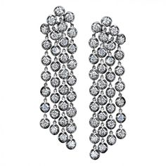 "Flexible Four-Row Dangling Earrings with Round Diamond ""Bubbles"" (9 1/5 ctw G-SI1 diamonds in 18k gold)"