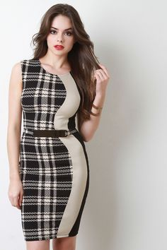 Description This bodycon dress features stretch knit, plaid houndstooth pattern, contrast solid color panels, metallic plate belt accent, and back zipper closur Stylish Dresses, Elegant Dresses, Nice Dresses, Fashion Dresses, Girls Dresses, Brunette Models, Beautiful Girl Image, Beautiful Eyes, Houndstooth Dress