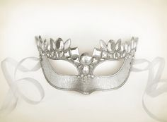 Pure Silver Masquerade Mask  Brocade Fabric Covered by SOFFITTA