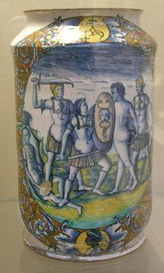 Deruta, albarello con stemma e scena di battaglia, 1501 - Albarello - Wikimedia Commons