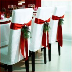 """So pretty for the holidays! I want chairs like this one day for my """"formal dining room""""."""
