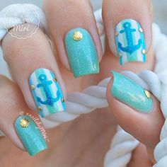 Anchor Stickers for Nails, Nail Stencils, Nautical Nails, Nail Art, Nail Vinyls - Medium (20 Stickers & Stencils) : Beauty
