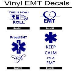 EMT Decals/EMT Vinyl Stickers/Custom EMT by LundtLetteringDesign