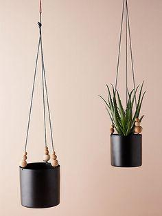 matte black hanging planters