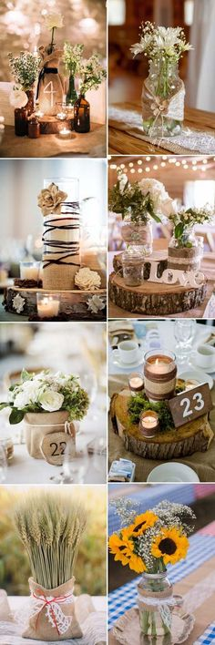 beautiful rustic wedding centerpieces, decorated with sack .- schöne rustikale Hochzeits-Mittelstücke, dekoriert mit Sackleinen – Holz Tisch DIY beautiful rustic wedding centerpieces, decorated with burlap, - Trendy Wedding, Fall Wedding, Diy Wedding, Wedding Flowers, Dream Wedding, Wedding Ideas, Wedding Rustic, Wedding Vintage, Decor Wedding