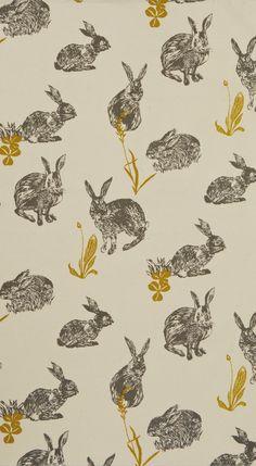Tea towel with block rabbit print