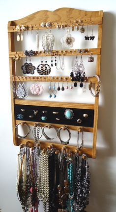 Gorgeous 20-25 Ring Organizer, 54-108 Pair Earring Storage Jewelry Holder, 16 Peg Bracelet Necklace Display, Honey Oak Wood Rack, Wall Mount