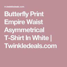 Butterfly Print Empire Waist Asymmetrical T-Shirt In White   Twinkledeals.com