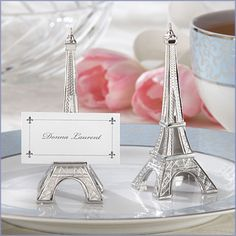 Paris Nights Eiffel Tower Silver Place Card/Holder