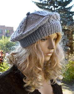 Knitted gray cap/hat beret by DosiakStyle on Etsy ♡ ♡