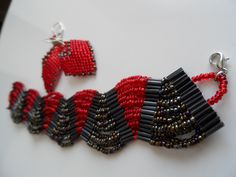 russian leaf earrings and wave bracelet Beading Projects, Leaf Earrings, Wave, Beads, Bracelets, Jewelry, Beading, Jewlery, Jewerly