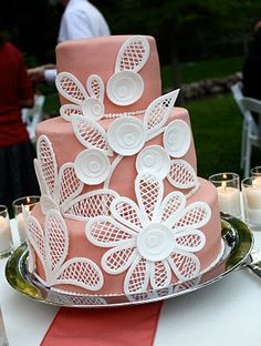 Free Wedding Projects: Fondant Lace Wedding Cake by At Second Street Fro. Gorgeous Cakes, Pretty Cakes, Cute Cakes, Amazing Cakes, Cake Decorating Techniques, Cake Decorating Tutorials, Fondant Lace, Fondant Tips, Diy Wedding Cake