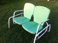 Charmant Vintage Mid Century Eames Era Metal Chair Swinging Metal Lawn Patio Glider  Swing