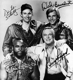 The A-Team 8 x 10 Autograph Reprint George Peppard Mr. T Dirk Benedict George Peppard, Team 8, The A Team, Great Tv Shows, Old Tv Shows, Love Movie, Movie Tv, 20th Century Fox, Mejores Series Tv