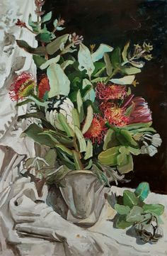 Jane Guthleben, Bush Nuts and Flowers in Glamorous Vase , 2017, Oil on Board, 120 x 90 cm, .M Contemporary, Art Gallery, 37 Ocean St, Woollahra, NSW, enquire at gallery@mcontemp.com