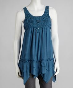 Take a look at this Simply Irresistible Blue Beaded Lace Handkerchief Tank on zulily today!