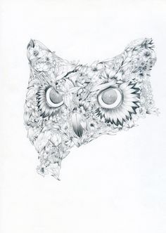illustrated flower owl - faunesque; i've been looking for this forever. i want this as a tat. More