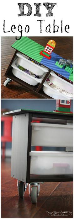 Build this easy DIY Lego table, complete with block and toy storage bins and casters to easily move it around as needed.