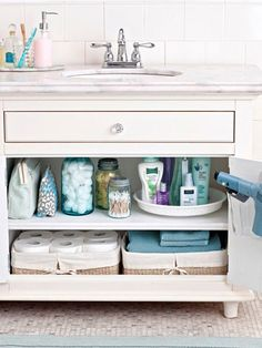 Master the Mess - I put down peel-n-stick tiles in my bathroom cabinets and bought a few baskets and containers to organize with. So simple, Should have done this a long time ago!