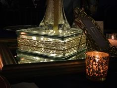 Glass block with lights centerpiece/Over the Moon Events & Decor – beyond ordinary to extraordinary