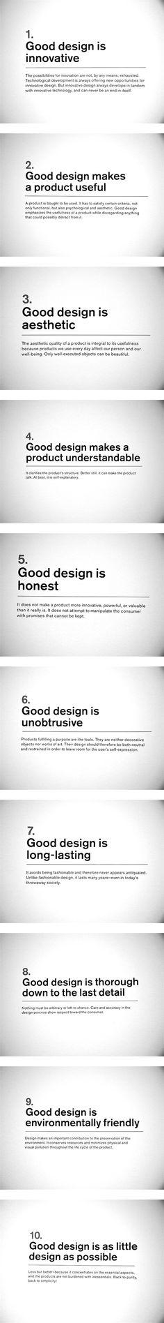 "Dieter Rams' ""Ten principles for Good Design"". If you like UX, design, or design… Visual Design, Ux Design, Tool Design, Design Process, Layout Design, Branding Design, Life Design, Design Thinking, Lettering"
