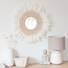 To decorate a child s bedroom Maisons du Monde offers a large selection of stickers and wall decorations decorative garlands canvases paintings mirrors and much Metal Mirror, Diy Mirror, White Mirror, Sunburst Mirror, Decorative Storage Boxes, Lantern Candle Holders, White Feathers, Small Furniture, Gold Print
